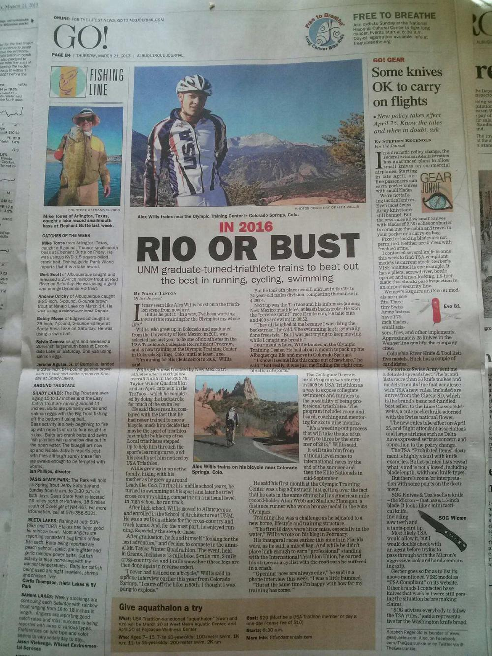 Feature Article in The Albuquerque Journal on 3/21/13