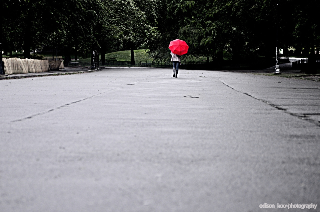 The Red Umbrella Series No, it wasn't this empty in the park. But it was easily made to be empty.