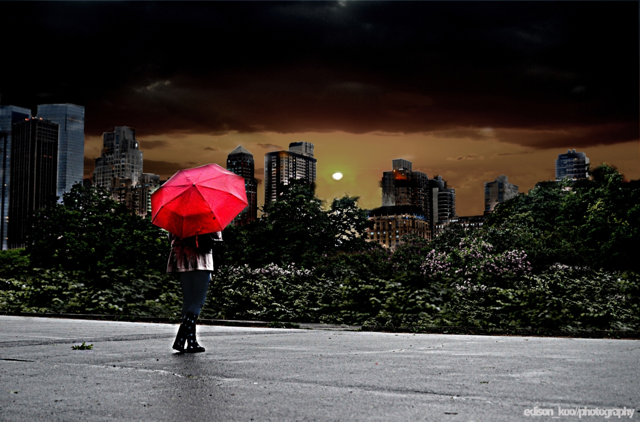 The Red Umbrella Series * This photo doesn't really go with the others, but I thought it apropos after hearing from everybody about the apocalyptic rain that's been hanging around. So I decided to just go with it. I'm sure many can sympathize. On a technical note, the lower bushes in the foreground were taken from another photo to replace an ugly fence. And also the sky was from another photo taken almost a year ago. It was a very overcast day. I've never composited so much before.