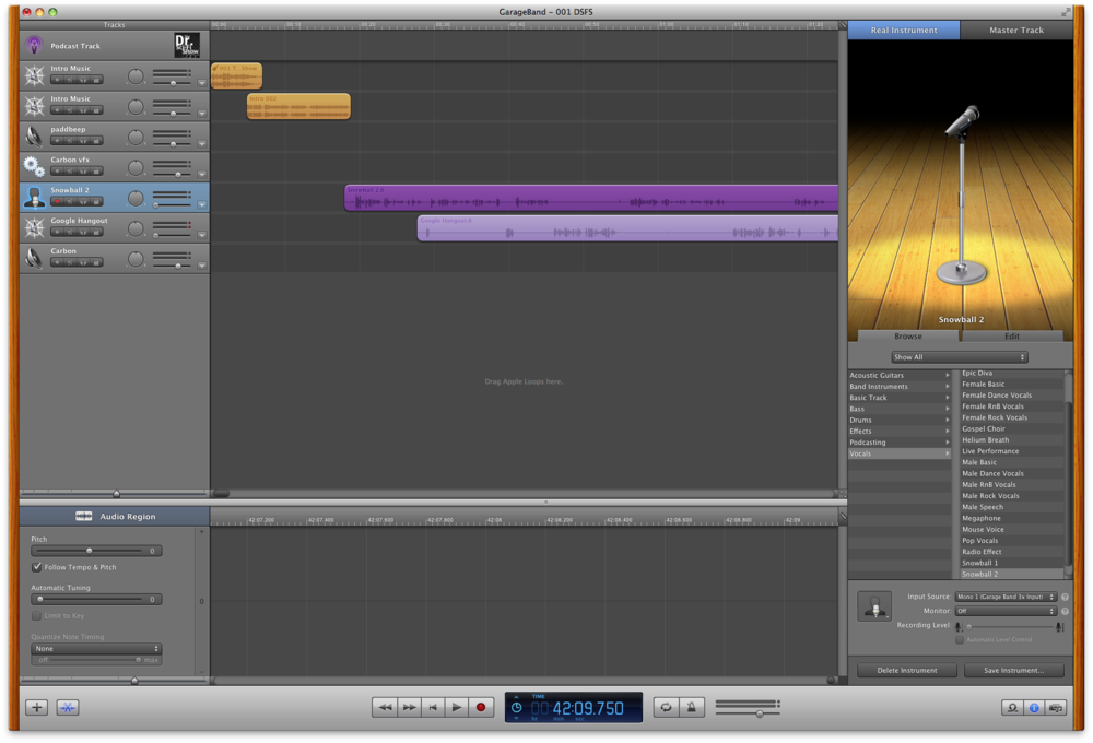 My entire GarageBand window.
