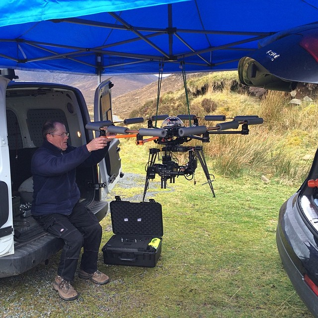 Balancing the MoVI with Canon 5D ready to shoot scenes for a music video on the Isle Of Skye in Scotland