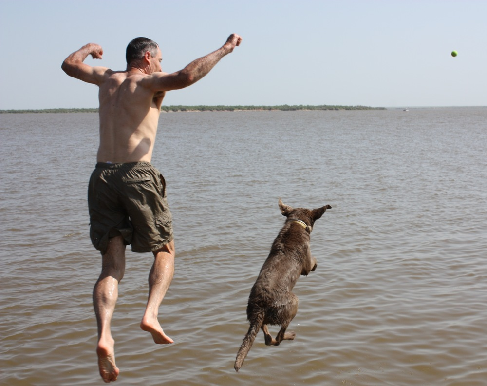 Lake Kemp in July - Jumping with Joy!