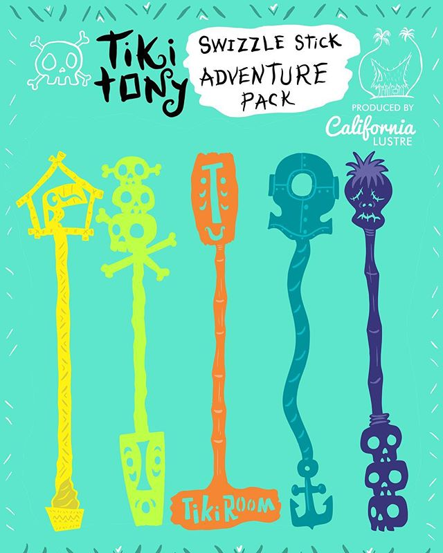 We might not have had them ready for @adventurelandday but they are finally ready today! We JUST put the Tiki Tony Swizzle Stick Adventure Pack up for sale in our Etsy shop. We are so excited that @tikitony designed this fabulous set for us to produce exclusively. Each set contains five unique swizzle designs, each in a different color. Perfectly sized to drink with your Mai Tai's ✨ Click the link in our bio to purchase! . . . #tikitony #tikitonyswizzles #swizzlestick #tikibar #tiki #exclusivedesign #barware #hometikibar #maitai #thereefpalmsprings #itsfiveoclocksomewhere #palmsprings #abmlifeiscolorful #livecolorfully #flashesofdelight #tikicocktails #bootleggertiki #ventiki #ohana #aloha #enchantedtikiroom #adventureland #adventurelandday #tikiasfuck #tikitime #tikitiki #cocktailstirrers #garnishgame #tikimug
