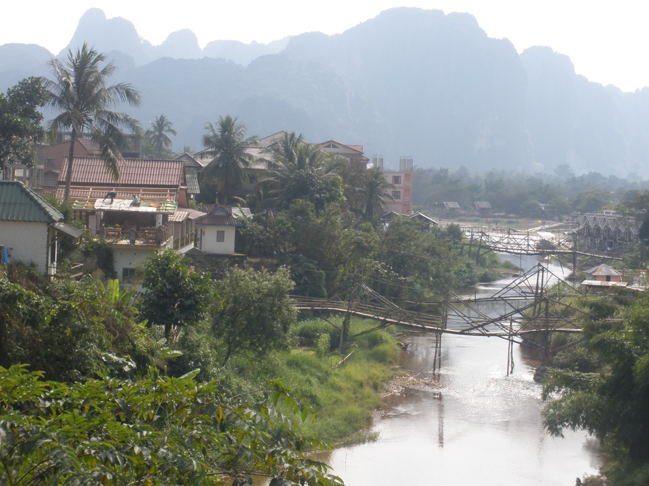 bridges over the Nam Song in Vang Vieng