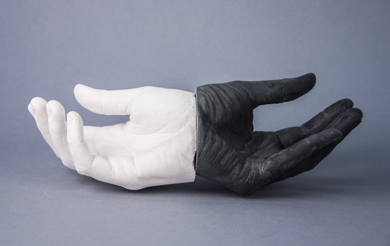 Janus's Hands (Cupping) , 2013  Cast hydrocal and pigment  3.5 x 12 x 3 inches