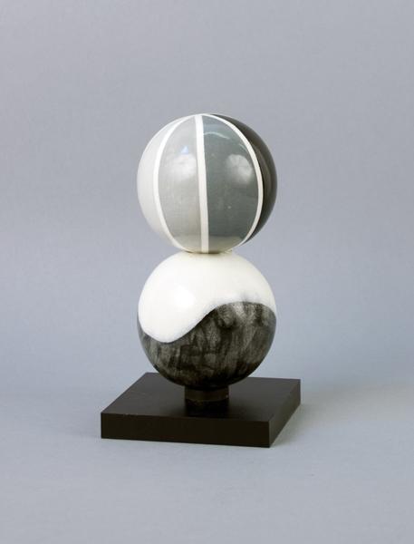 Doubles (Giant Necklace Prototype) , 2011-3  Porcelain, underglaze, glaze and painted steel  6 x 3 x 3 inches