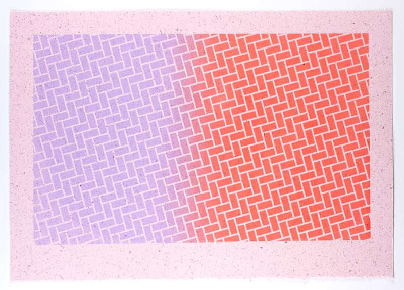 Frida's Bricks, 2013  Silkscreen print on handmade paper  11.5 x 16.5 inches