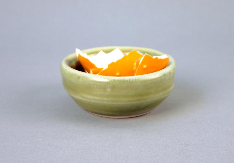 Orange Peel in Sage Bowl , 2012  Glazed porcelain  1 x 3 x 3 inches