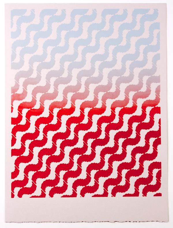 Tessellate (Smoke to Fire) , 2012  Silkscreen print on paper  12 x 9 inches