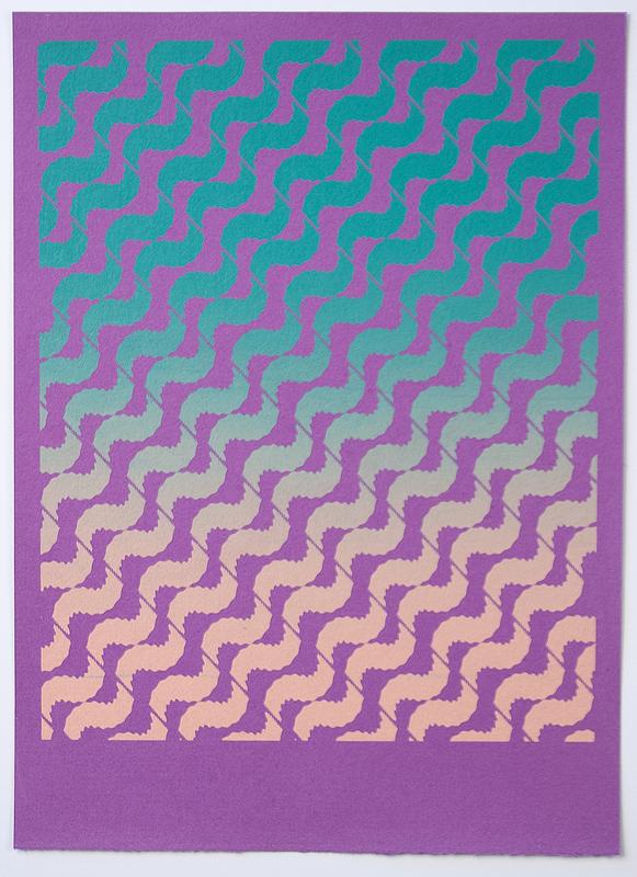 Tessellate (Sunset Breeze) , 2012  Silkscreen print on handmade paper  12 x 9 inches