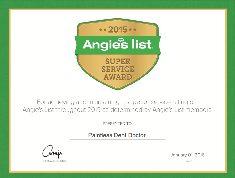 Paintless Dent Doctor Angies List Super Service Award Winner