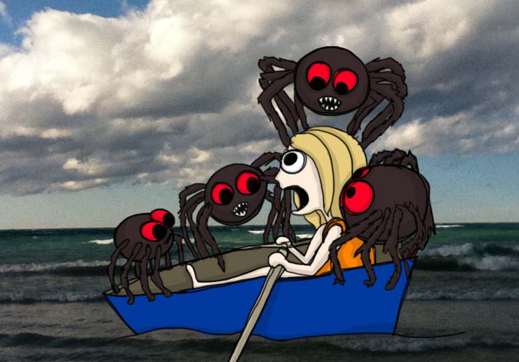 Rowboat full of Spiders
