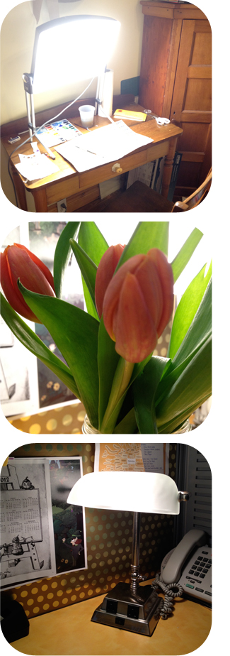 Images for tips to be happy and pretend that spring is here including tulips and a lightbox.