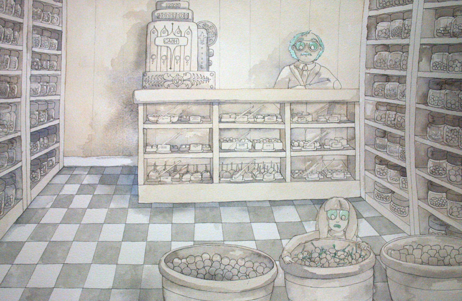 Candy Store Hijinx Watercolour Illustration by Amanda Farquharson - Underpainting