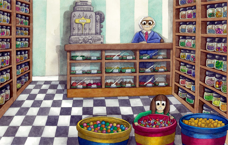 Candy Store Hijinx Watercolour Illustration by Amanda Farquharson