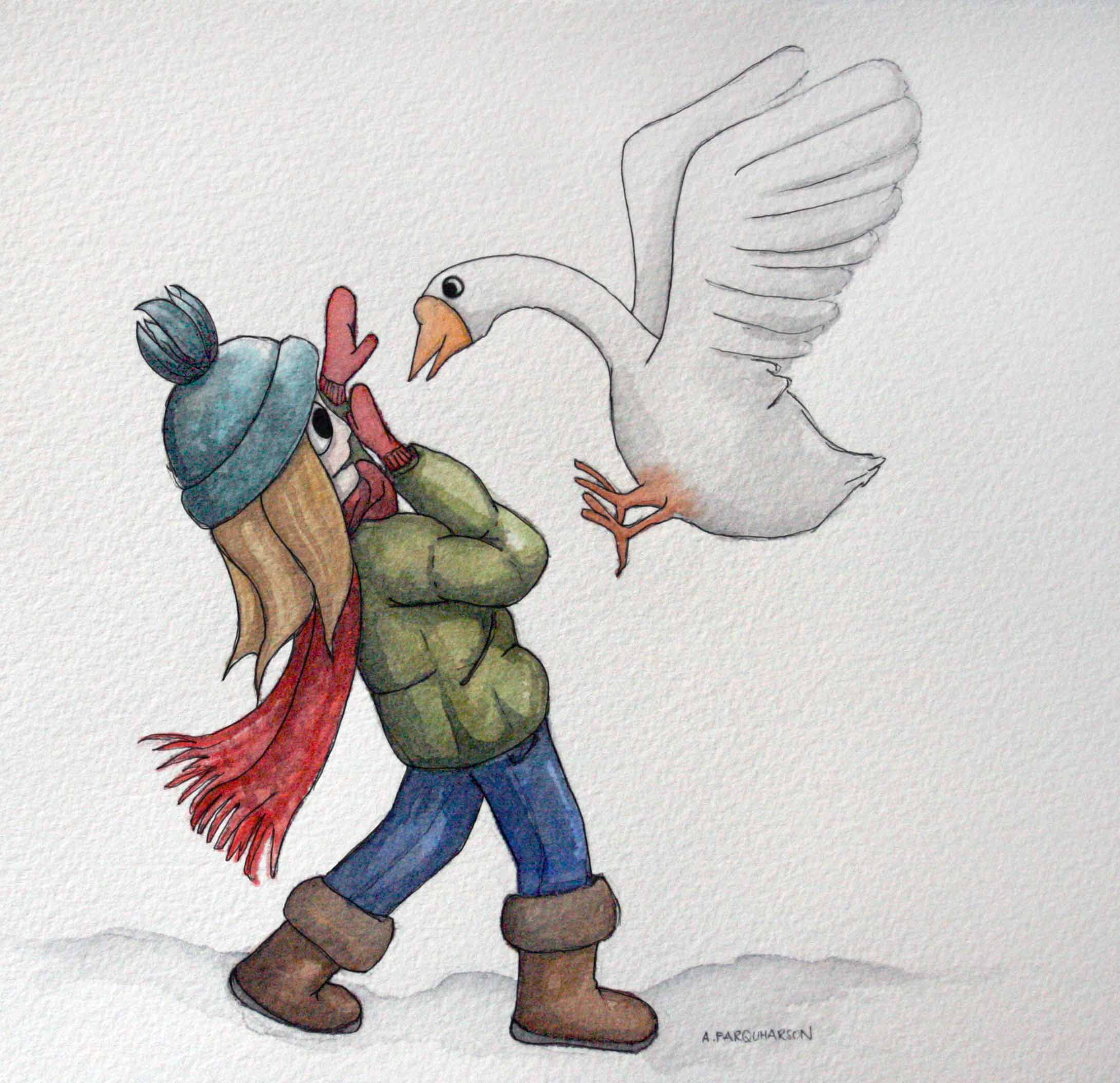 Attacked by a vicious goose in the snow illustration