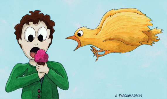 Illustration Friday drawing of a bird about to eat an ice cream cone