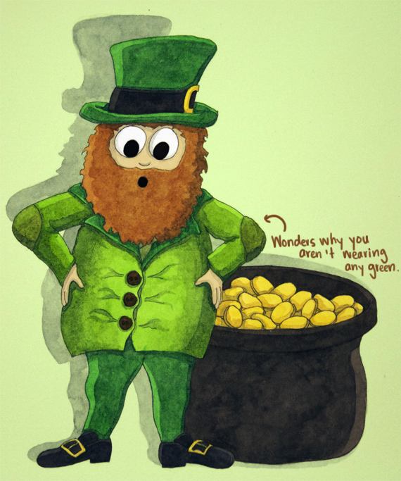 Leprechaun Illustration for St. Patrick's Day by Amanda Farquharson