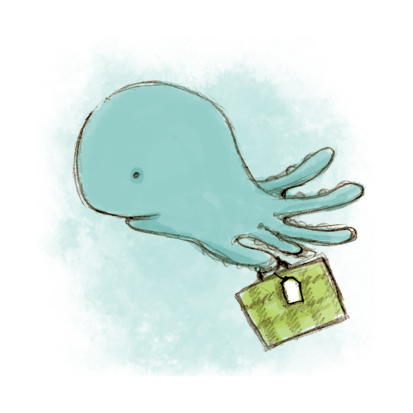 Abigail Halpin Illustration of an Octopus with a Suitcase