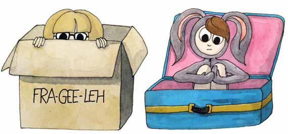 Amanda and Happy Bunny Moving Box Illustration