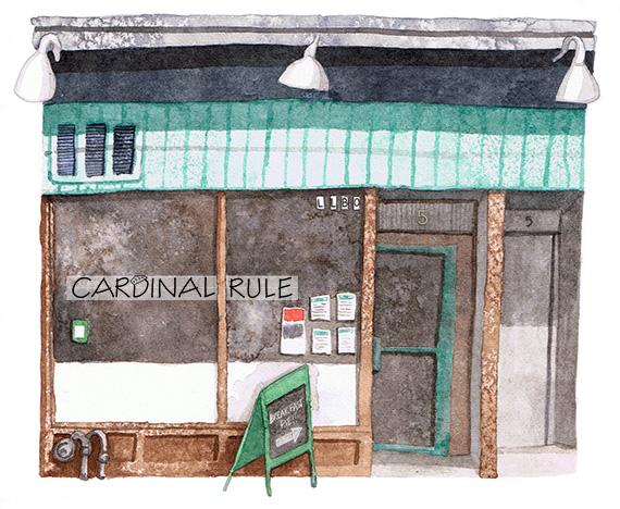 Cardinal Rule Restaurant Illustration by Amanda Farquharson
