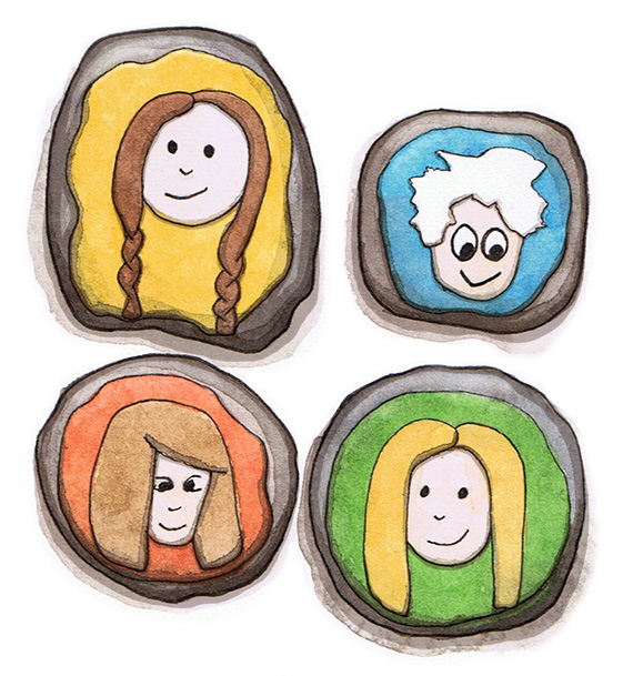 Thanksgiving Painted People Rock Placecards by Amanda Farquharson