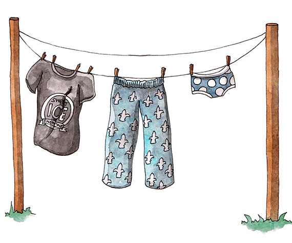 Laundry on the Line illustration by Amanda Farquharson featuring a Sweet Ice Snow Cones T-Shirt