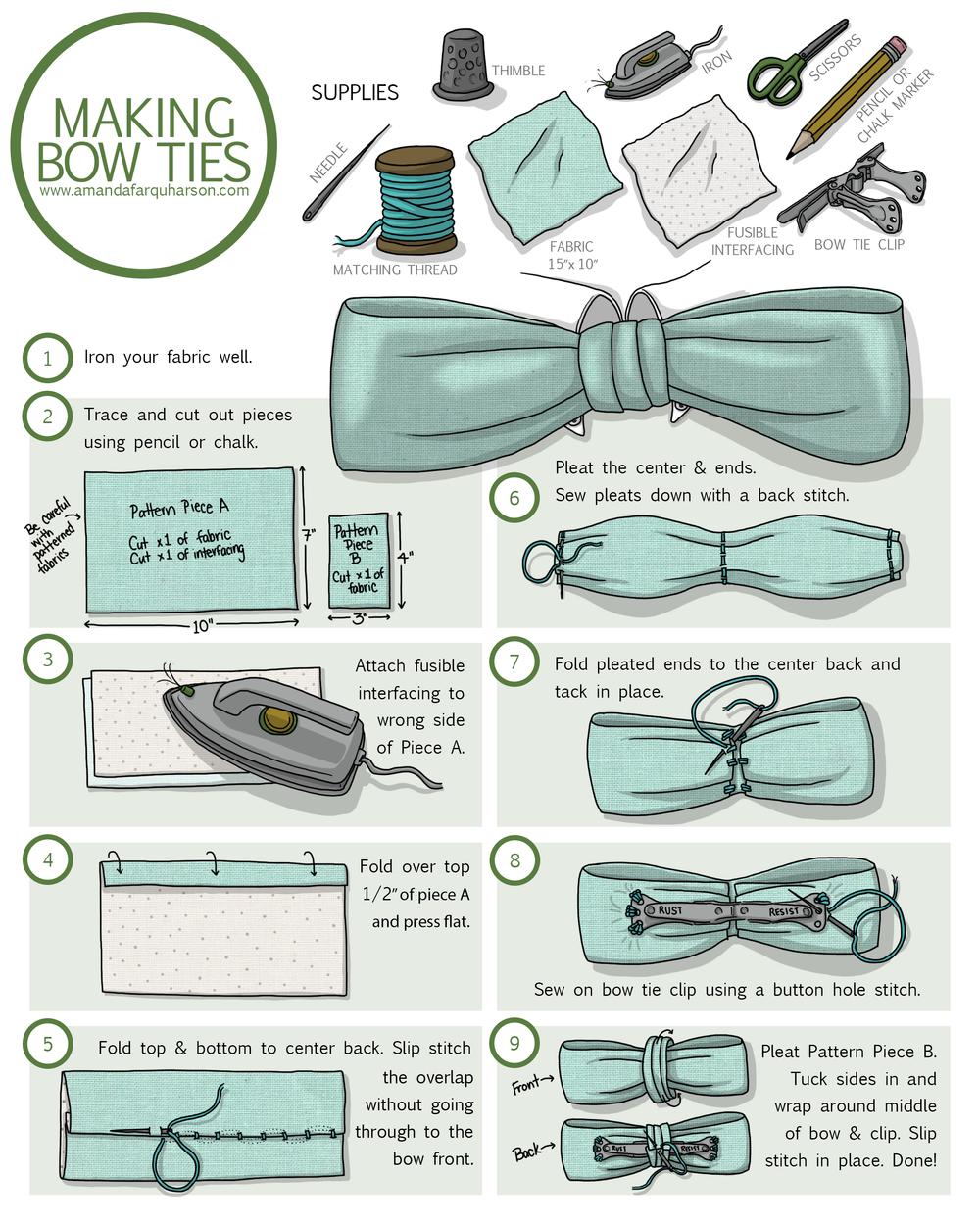 Как сшить галстук бабочку на резинке своими руками
