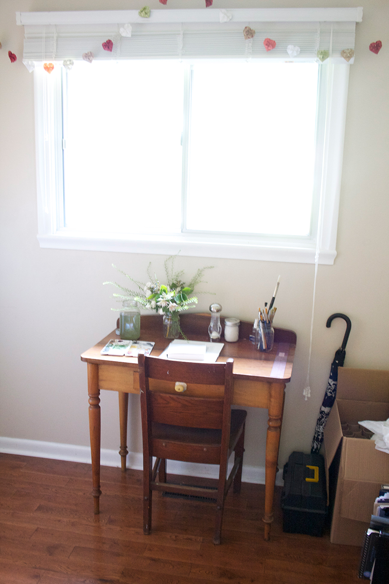 This is my watercolour painting table. And yeah, it usually does have fresh flowers on it (these ones courtesy of Jay and i Fiori On James North)