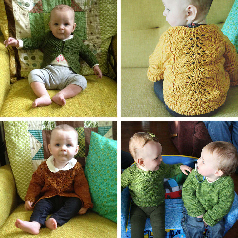 Clockwise from Top left: Molly modelling my first completed object, a crocheted baby cardigan for my friend Kim's daughter Frankie. Molly in a Bloomsbury Kids pullover, Molly and my nephew Jackson in matching Christmas Tree sweaters, Molly in my first knitted sweater project (and first ever knitting project) - a Granny's Favourite Cardigan.