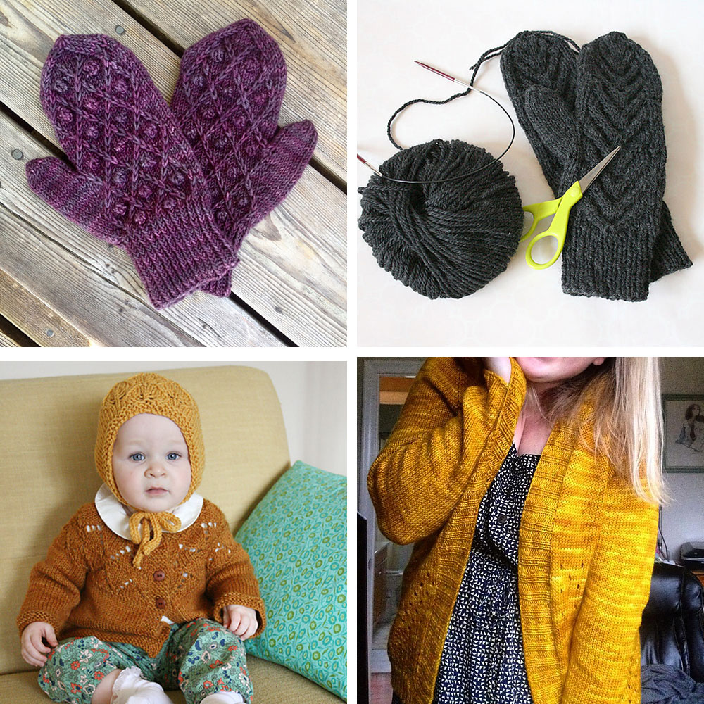 Clockwise from top left: some Hierro mittens for my mother-in-law, two pairs of Antler mittens for my sister and her fiance, a Campside Cardigan for myself, and a yellow bonnet for Molly.