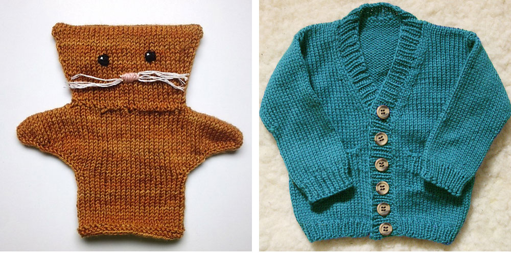 Left: knitted Lucy puppet for Molly  Right: Grandpa Cardigan for my niece Lorelei.