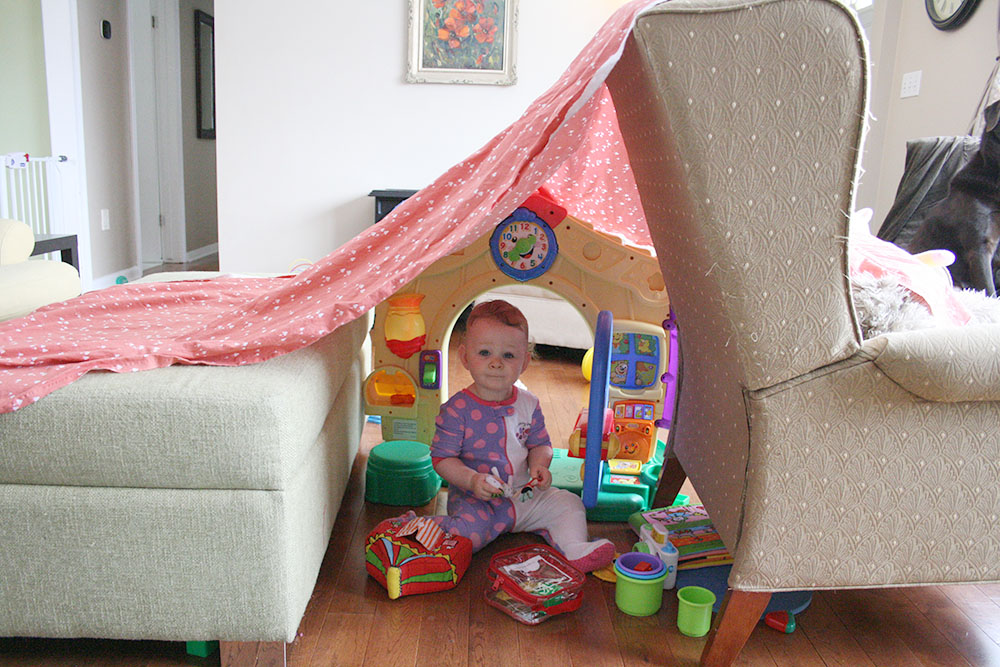 Our living room is often completely covered in toys and frequently also a blanket fort. Once we completely baby-proofed, Molly and I spent most of our time in here because she is free to play and explore without much danger. In our new house I think we will baby-proof the entire main floor so she can have more space to run around! (an easier task in a multi-story house! We are thinking to block off the upstairs with a baby gate)