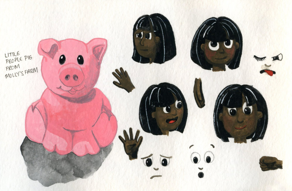 A pig from Molly's Little People farm + some facial expression and hand tests.