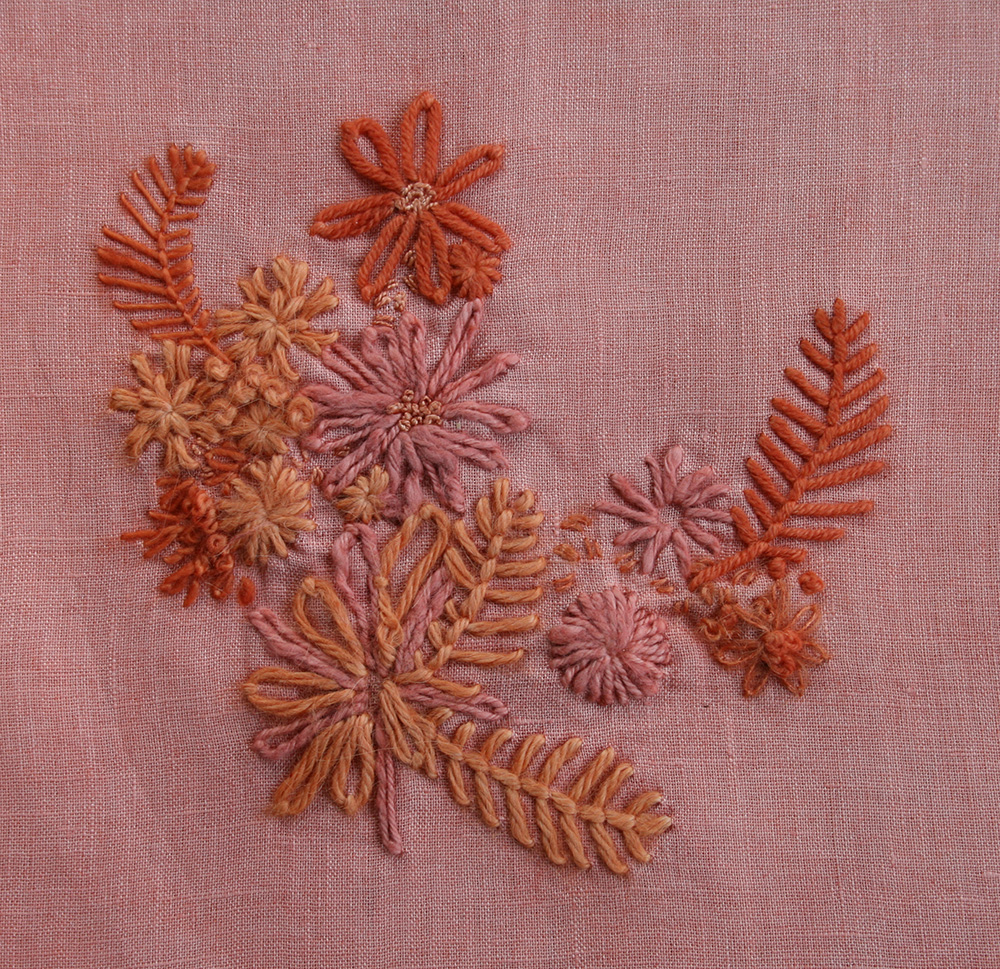 Sampler 2 went just into the Madder dye for the entire time. It really picked up a lovely bunch of pink and coral shades. Pretty!