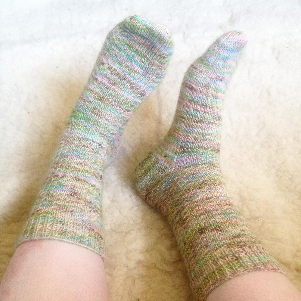 Pattern: Hermione's Everyday Socks, the Yarn is Hedgehog Fibres Twist sock in 'Pistachio'
