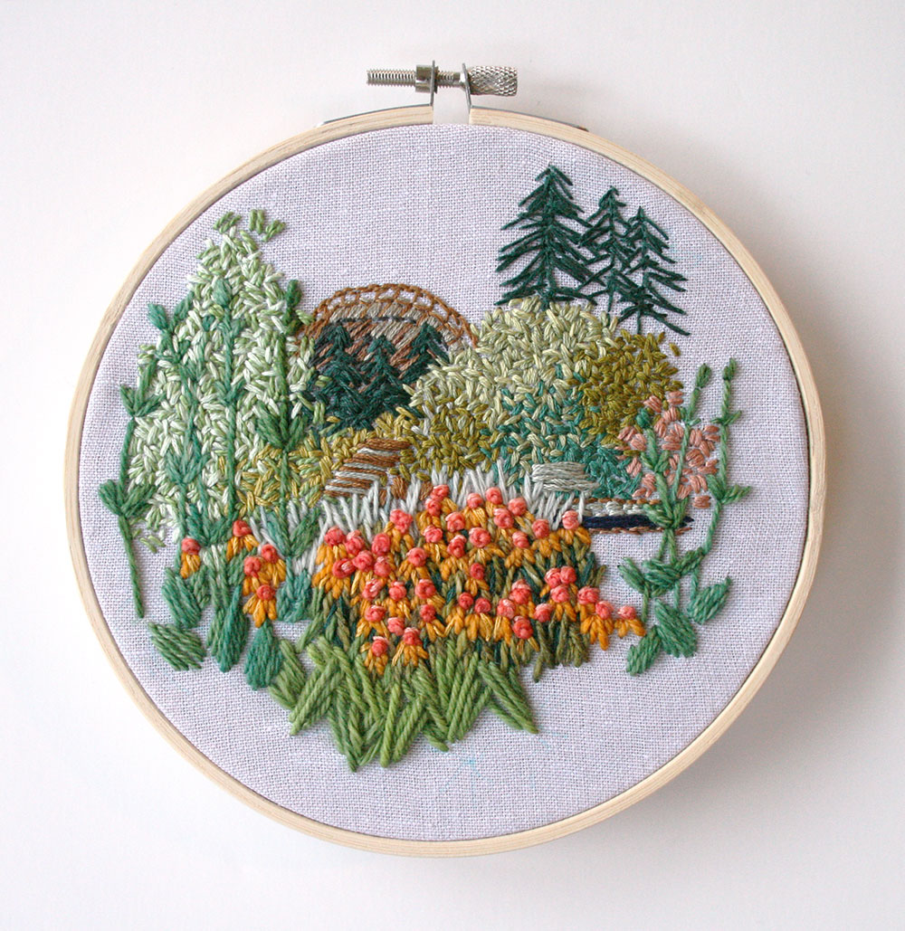The final piece! - Tutorial on how to embroider your own landscape art by Amanda Farquharson
