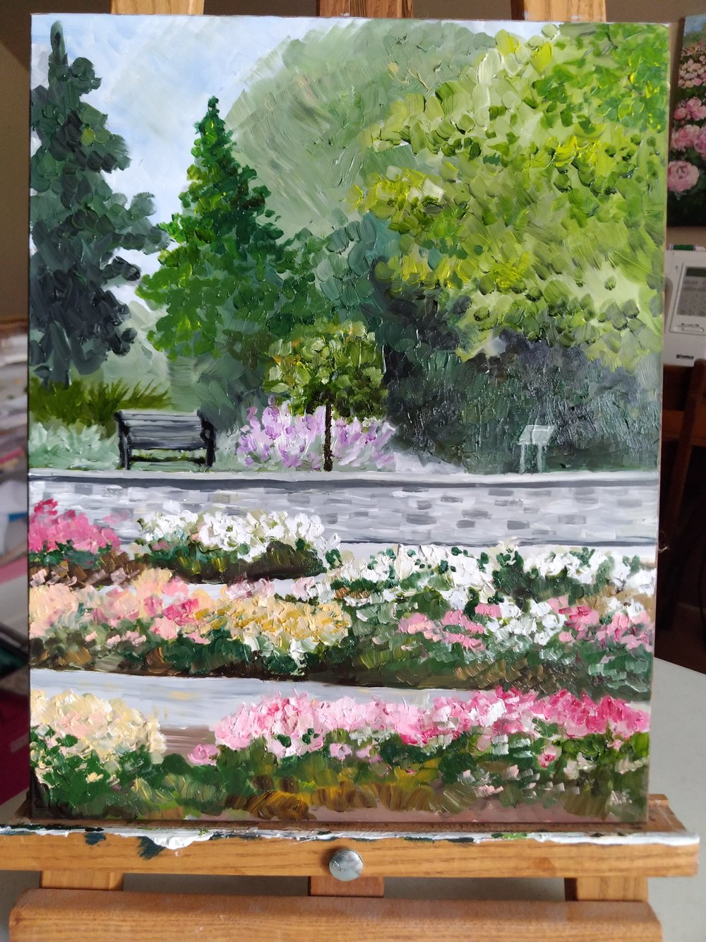 Original Oil Painting of the Royal Botanical Gardens Rose Garden by Amanda Farquharson
