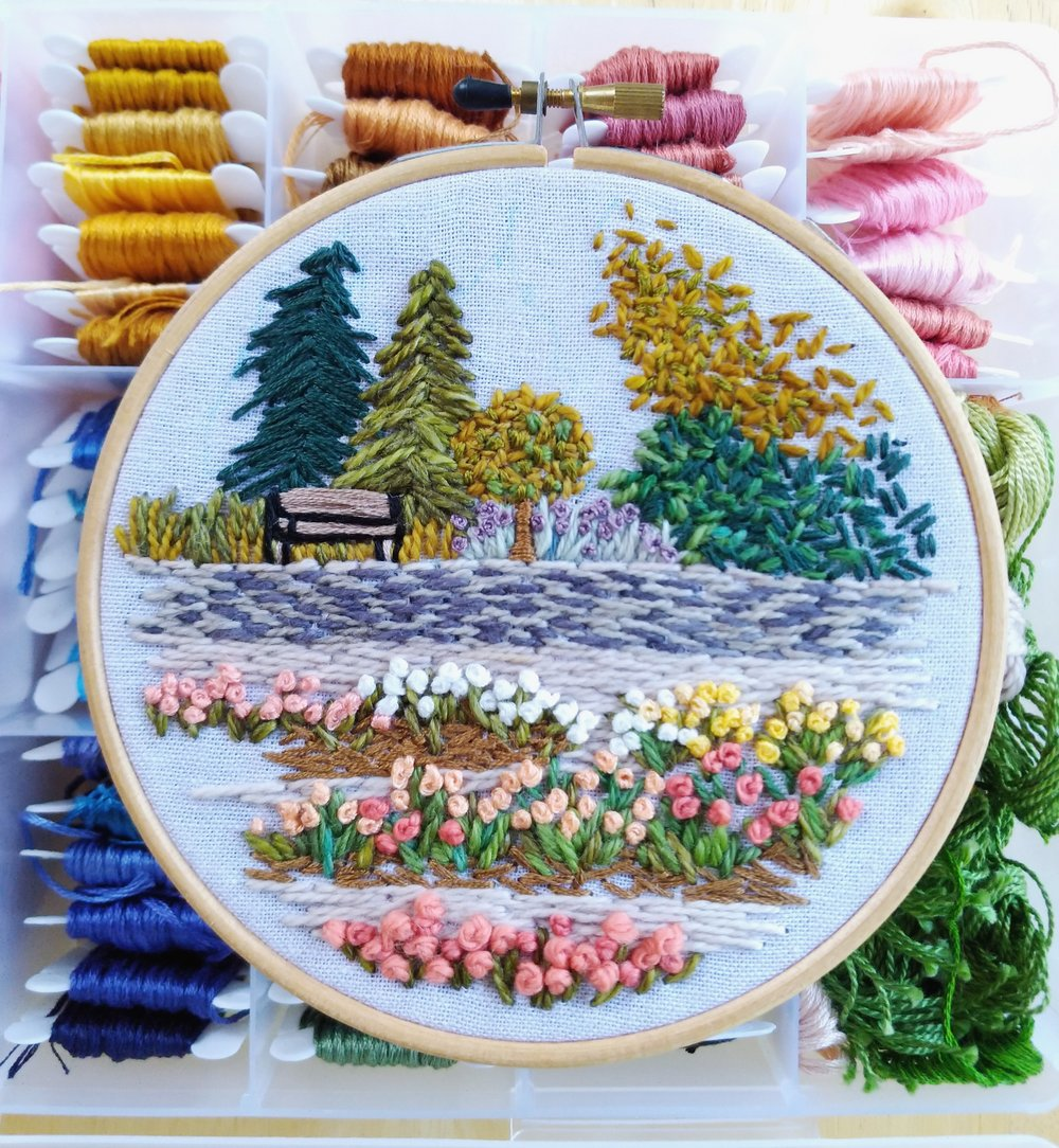An embroidery version of the Rose Garden at the Royal Botanical Gardens in Burlington, ON.