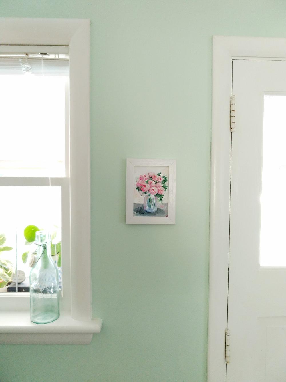 Small 5 x7 Original Framed Peony Painting by Amanda Farquharson