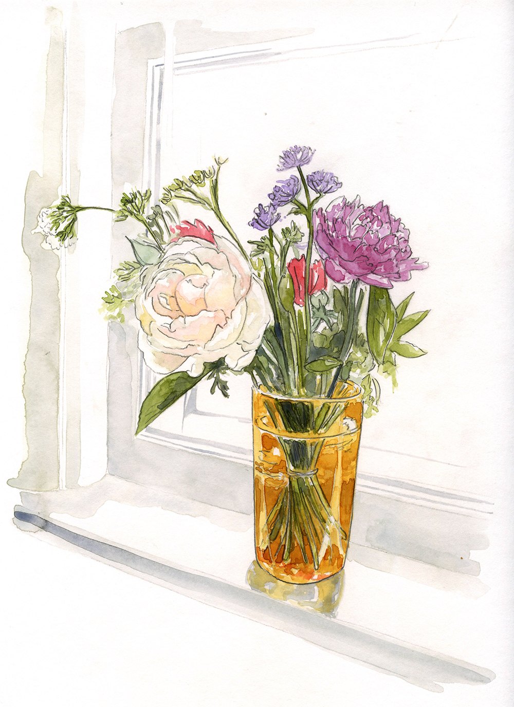 Triple Take: Kitchen Window Watercolour Painting (One of a set of three versions of this scene) - Amanda Farquharson
