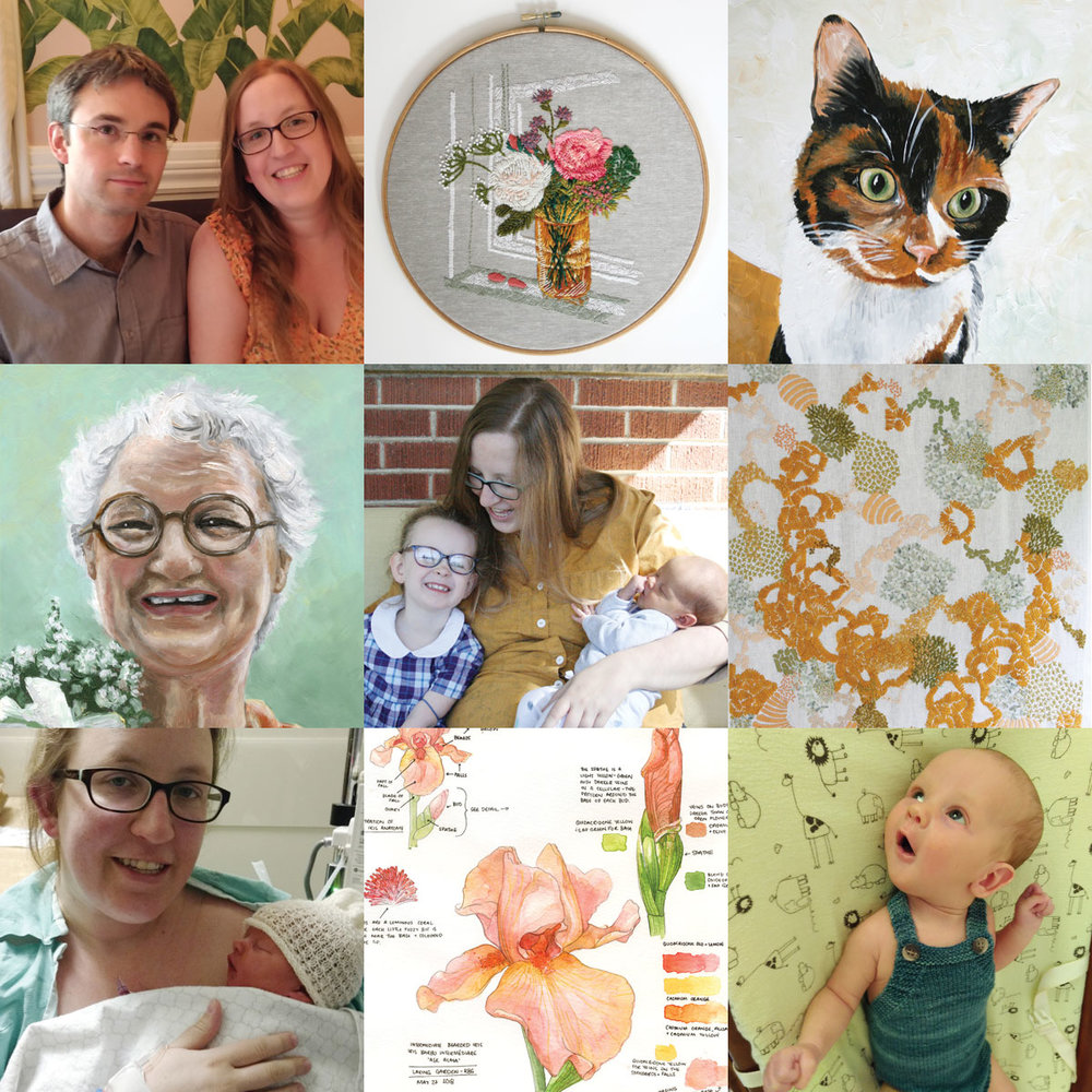"""I went rogue and made my own """"Best 9"""" shot of 2018!  Top, left to right: Our wedding anniversary in May, embroidery of our window sill, oil painting of our cat Mocha  Middle, left to right: oil portrait of my grandma, Mother's day photo of Molly + James + Me, large scale abstract embroidery  Bottom, left to right: First time holding James after emergency C Section, botanical watercolour sketchbook page of irises from the Royal Botanical Gardens, James wearing a knitted romper I made him."""