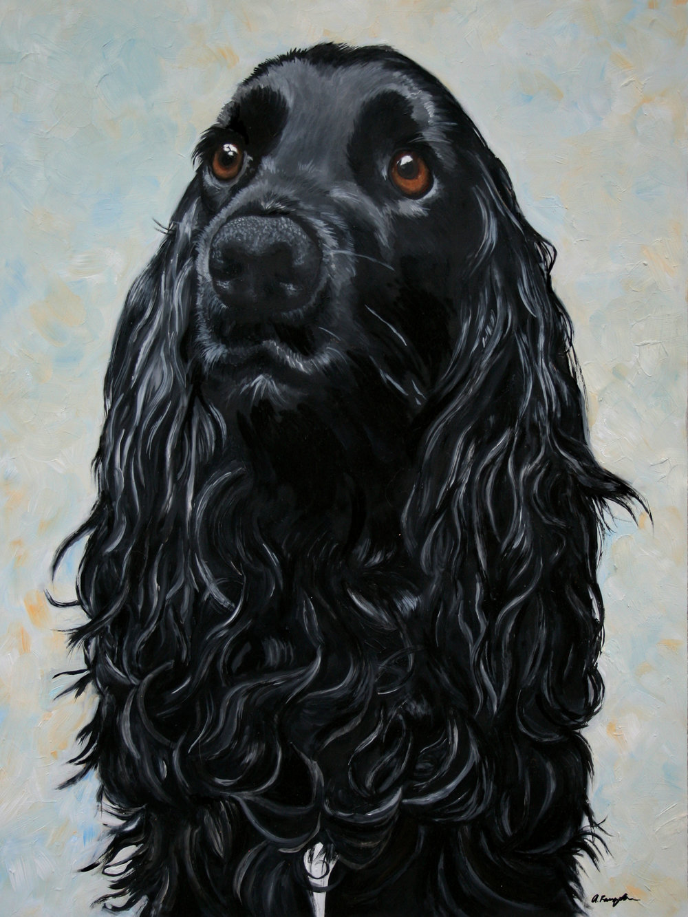 Clarke. Cropped View of Original Pet Portrait Commission - 12 x 16 oil on panel