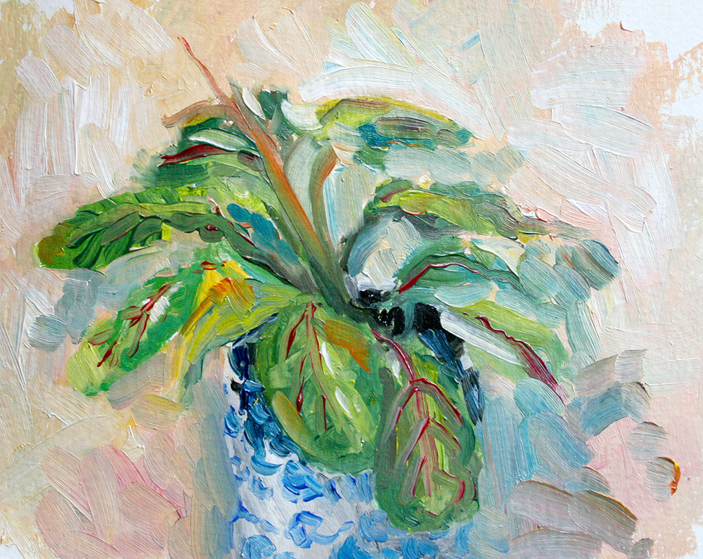 30 minute oil sketch of the prayer plant on my studio table.