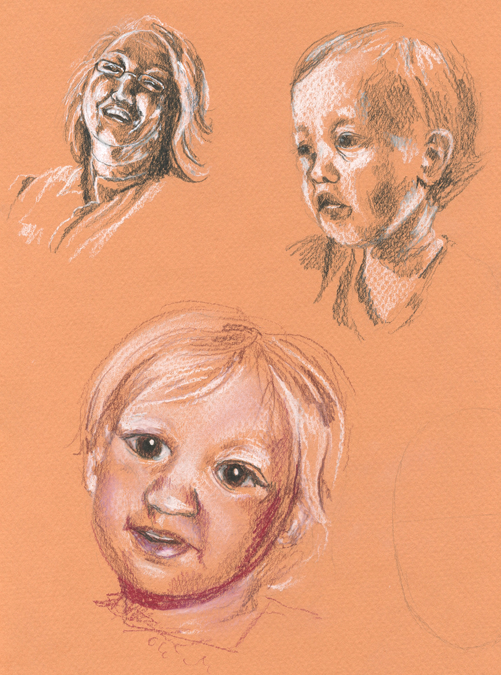 These aren't the best, haha! Pencil Crayon, Pastel Pencil, Pencil and white ink on tinted paper.