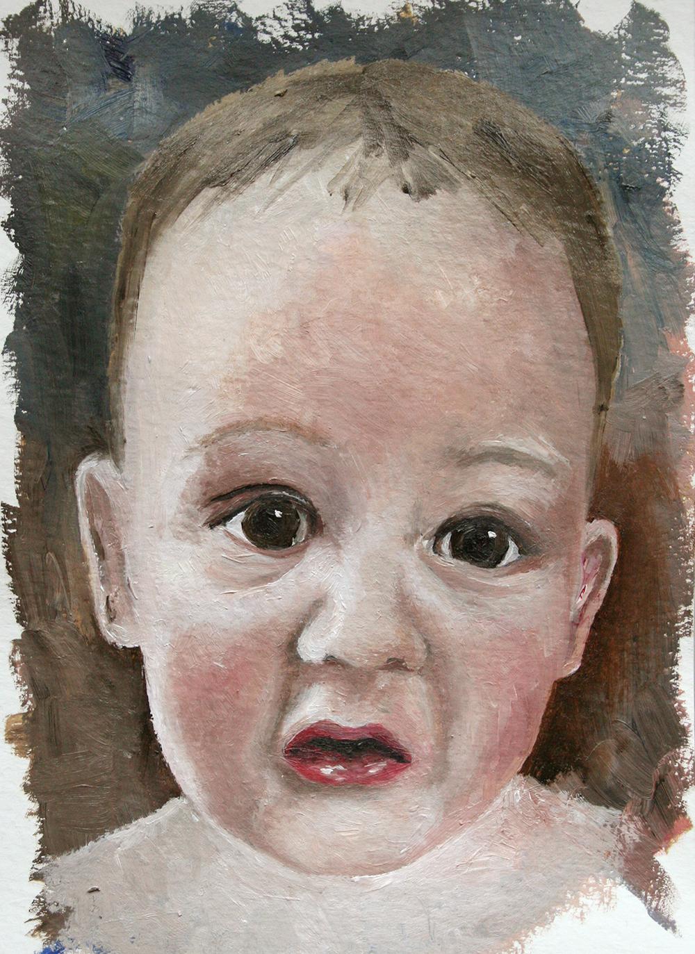 Oil Sketch of Baby James. Oil on Gessoed Paper.