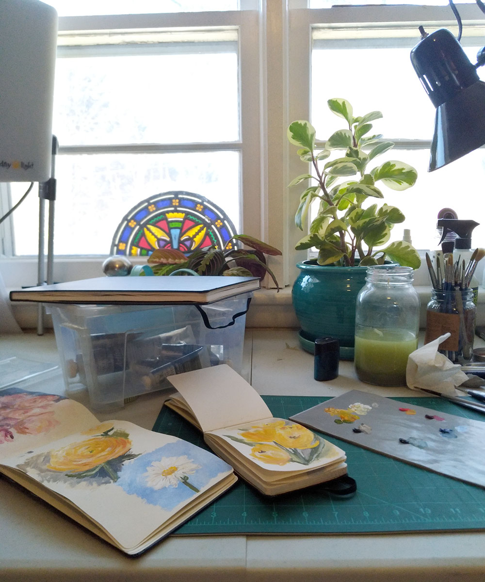 My work table with some frankly disappointing sketches.