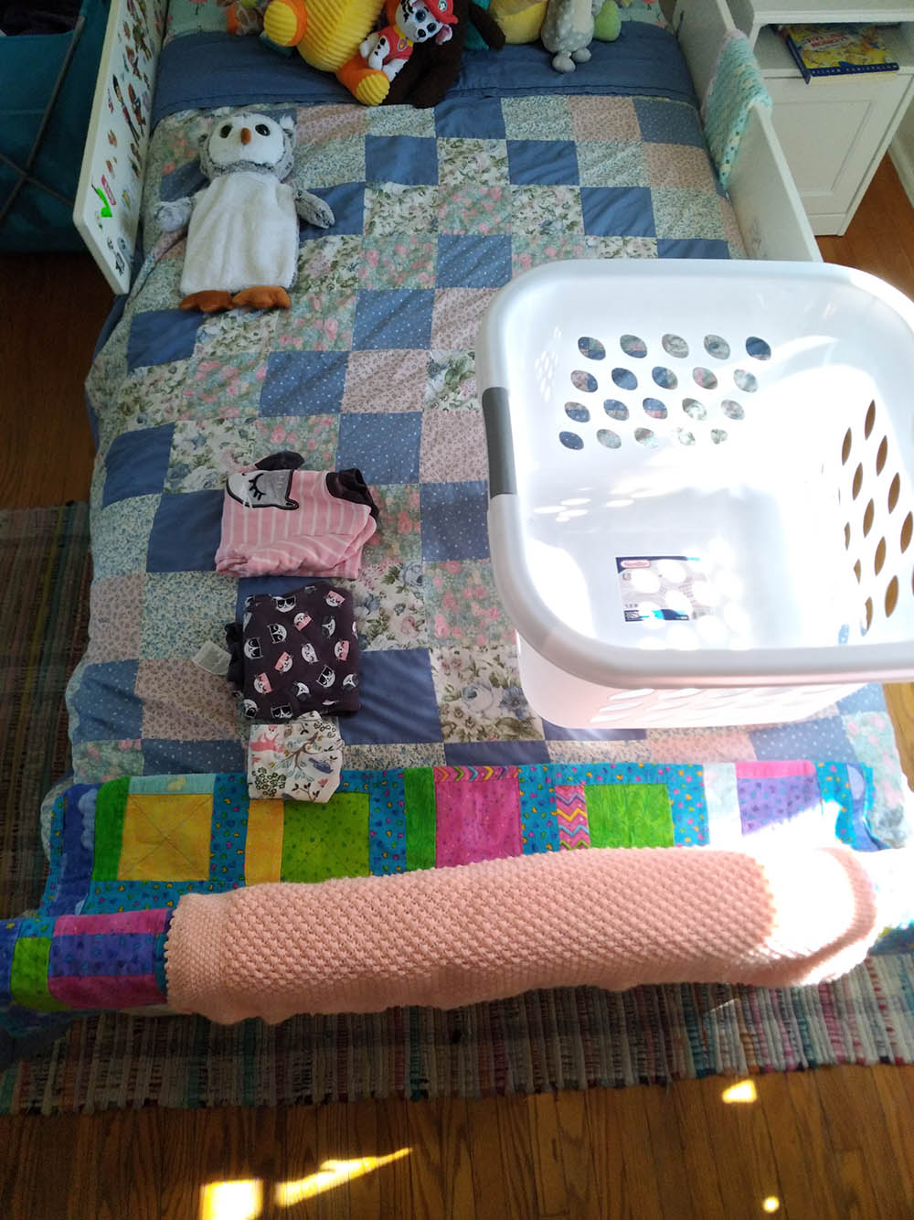 All this bedding was in the laundry and she even folded Molly's clothes using the Kon Mari method!