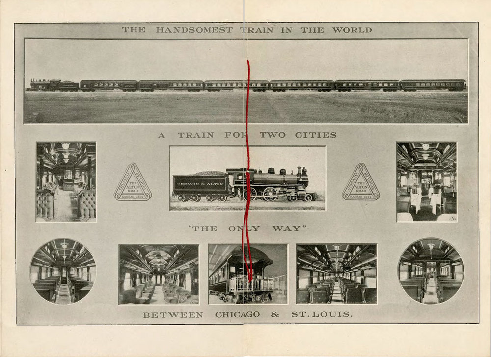 "A spread from the Chicago & Alton pamphlet, ""The Largest Photograph in the World of the Handsomest Train in the World"", including Lawrence's image of the train.  INDIANA HISTORICAL SOCIETY"