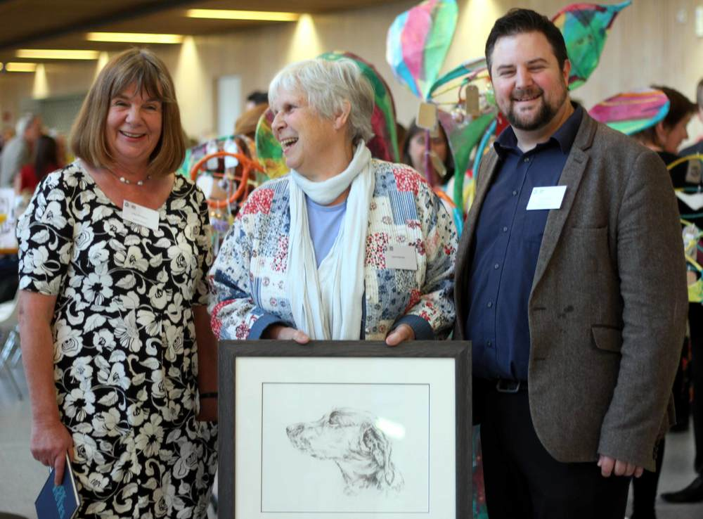 Julia Donaldson, Carol Seymour and Kevin Harrison celebrate twenty five years of Artlink Central and Carol's massive contribution to Artlink Central's success.